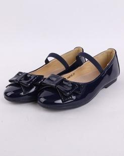女童藏青时尚可爱皮鞋