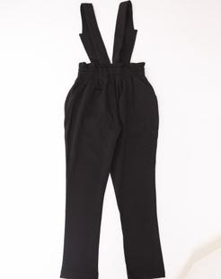 女童黑色背带裤