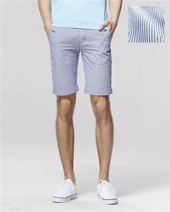 条纹卷边纯棉休闲短裤