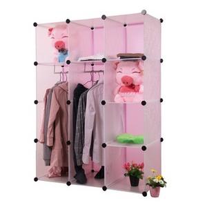 名门新贵 12格 加大款式 DIY自由组装衣柜无门板 便捷时尚居家必备 美观大方(白粉)