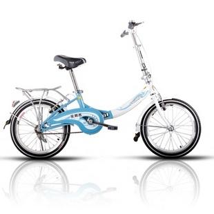 菲利普蓝精灵小轮车 20寸自行车 小单车 折叠车(浅蓝)