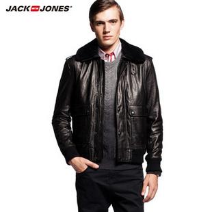 JackJones杰克琼斯可拆毛领男士皮夹克B|212410007 黑色 170/92A/S