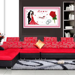 溢彩花语 大幅新款客厅人物系列百分百精准印花珍爱一生433245
