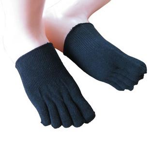 ON21男女通穿 全棉素色清凉前半脚隐形五趾五指袜A5A34 黑色 均码