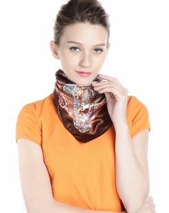 女款粉色/咖啡色卡通链条时尚方巾