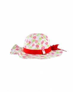 粉红梅花印花太阳帽-韩国进口