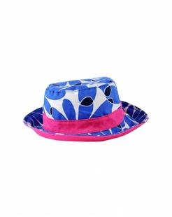 蓝色印花遮阳帽