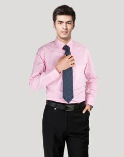 浅紫色经典斯文长袖衬衫