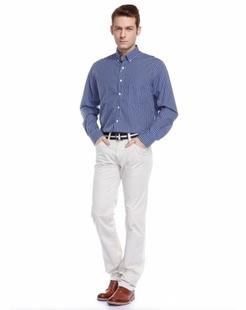 男款时尚经典蓝色格子长袖衬衫