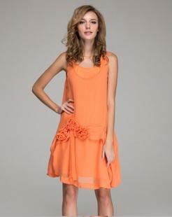 橙红雪纺背心裙