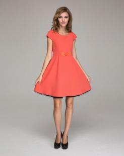 橙红经典连衣裙