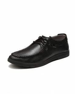 男款黑色牛皮时尚休闲单鞋