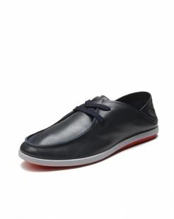 男款深蓝色牛皮时尚休闲单鞋