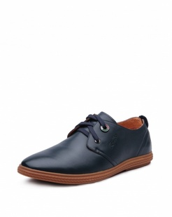 男款深蓝色牛皮商务绅士单鞋