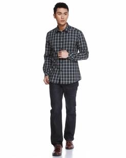 绿/多色经典简约格子长袖衬衫