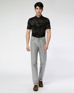 灰黑色印花短袖开衫