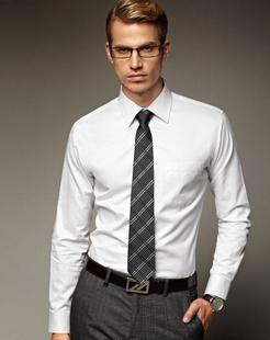 白色经典商务斯文长袖衬衫