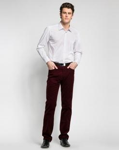 经典紫条商务长袖衬衣