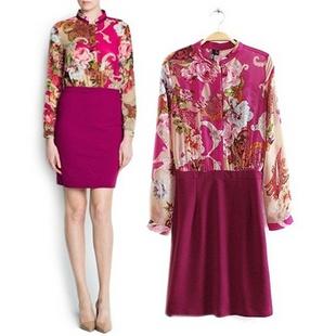 2014春装新款欧洲站女装佩斯利花纹拼接撞色长袖雪纺连衣裙
