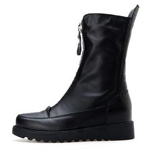 皮尔莱利2013冬季新款女鞋 欧洲站真皮平底马丁靴 平跟短靴子女靴子20-236 AP20-236黑色 35