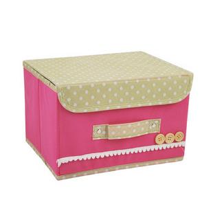 卡秀 扣扣多功能折叠收纳箱 整理箱 无纺布储物箱 家庭收纳用具 大号粉色