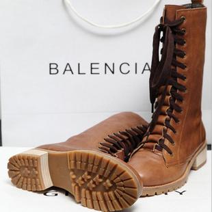 中筒靴子 韩版 棕色 34