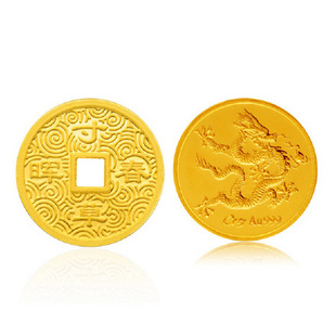 潮宏基 龙腾纪念专版/寸草春晖 3克 黄金 足金金币 两款选一