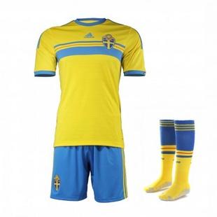 adidas阿迪达斯2014新款足球服男装世界杯国家队瑞典透气专业服套装G91591+G91580+G76579