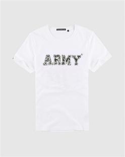 迷彩字母植绒印花短袖T恤
