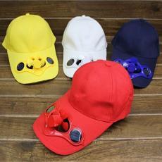 夏太阳能电风扇棒球帽户外帽子旅游帽 遮阳帽避暑帽钓鱼帽-深蓝色