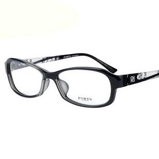 宝姿PORTS眼镜框眼镜架商务时尚近视眼镜13207 BK灰色