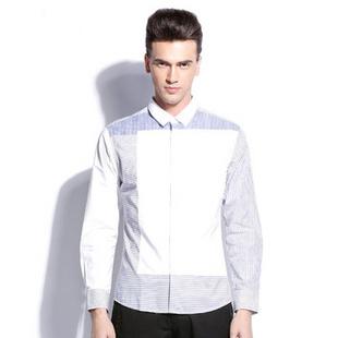 卡宾2014新品 不对称条纹纯棉修身春装 男士休闲衬衫B/3131109037 粉蓝色07 56(190/108A)