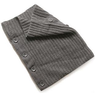 卡宾CABBEEN纯色个性钮扣装饰含羊毛男士围巾/围脖3114314009 深灰色 0F