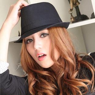 旺角16号女士纯色礼帽爵士帽 黑色