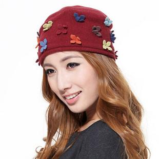飞兰蔻FeelingCool100%高档羊毛呢优雅喜悦花朵包头帽E5810162 81红色