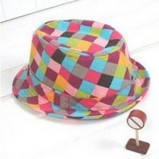 经典款儿童帽子/彩色格子礼帽 爵士帽 GMZ13241 彩色格子 均码