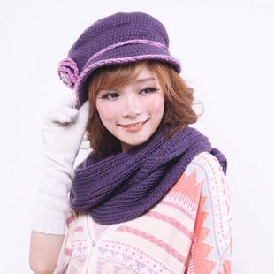 飞兰蔻纯羊毛韩版针织冬季保暖女士两件套毛线帽子104 11紫色