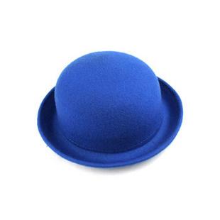 韩版秋冬卷边羊毛呢圆顶小礼帽爵士帽 宝蓝