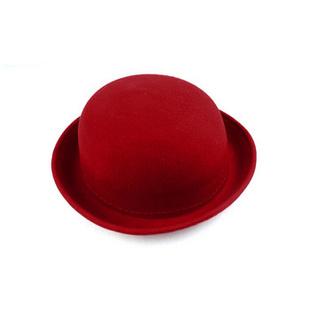 韩版秋冬卷边羊毛呢圆顶小礼帽爵士帽 暗红色