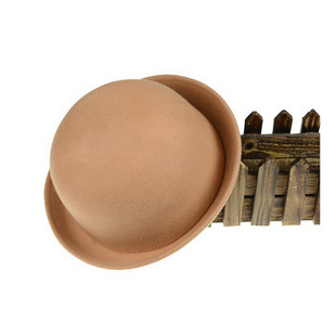 韩版秋冬卷边羊毛呢圆顶小礼帽爵士帽 驼色