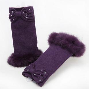 飞兰蔻手套女士冬天羊毛手套兔毛手套纯色绣花保暖半截手套女士冬 11紫色 均码