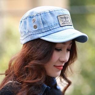 新款平顶帽 男女户外休闲军帽鸭舌帽 韩版刺绣字母牛仔帽WMZ141740 蓝白 均码