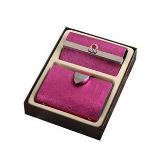 时尚奢华牛皮卡包钥匙包礼盒套装实用升级版 带礼盒 紫红色