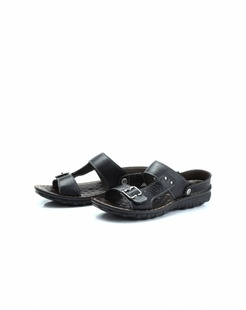 黑色牛皮日常舒适凉鞋