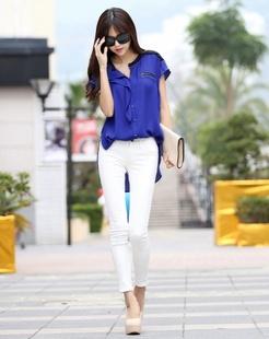蓝色短袖雪纺衫