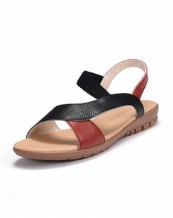 黑/红色牛皮凉鞋