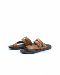 浅棕色牛皮简约舒适拖鞋
