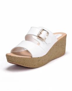 白色镂空牛皮拖鞋