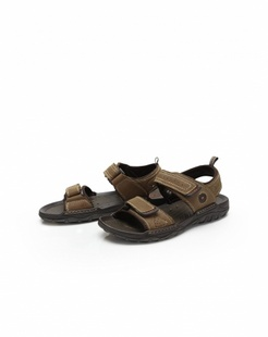 棕色牛皮日常休闲凉鞋