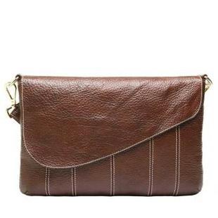 凯诗微Careshive欧美时尚格纹车缝线潮女士头层牛皮单肩斜挎包包2266 棕色 横款方形